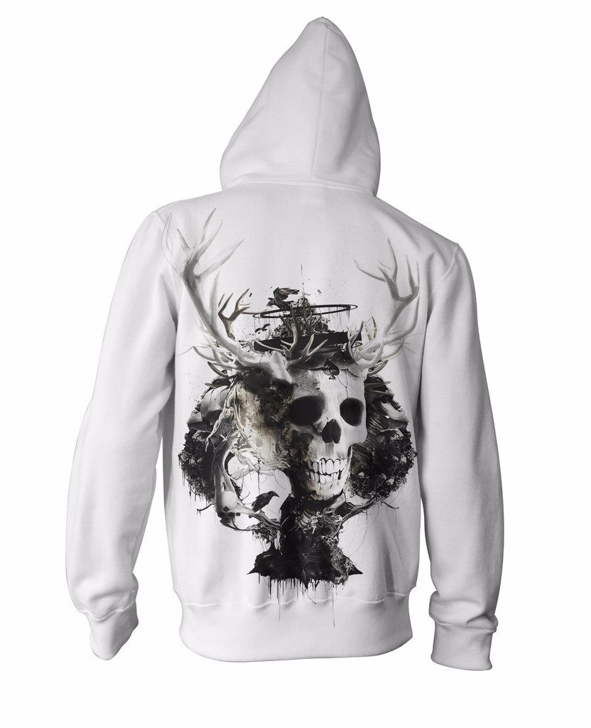 King of Spades Zip-Up Hoodie skeleton heads Skull