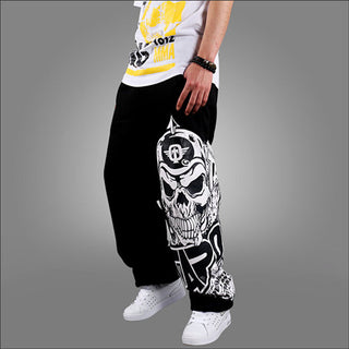 Hip Hop Style Men Casual Full Pants Black/Gray Skull