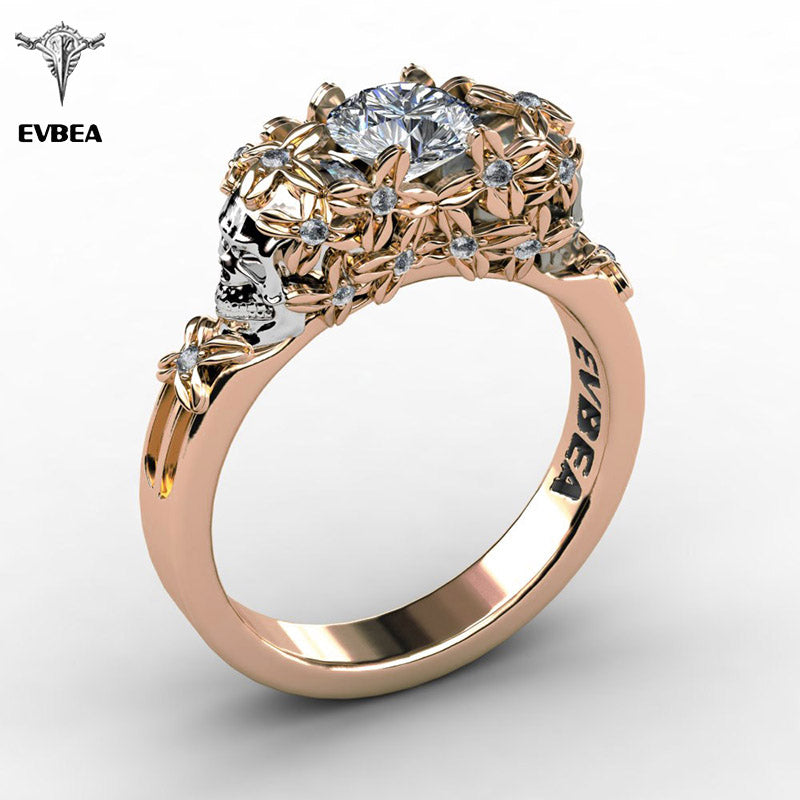 Elegant Gold Skull Zircon Ring