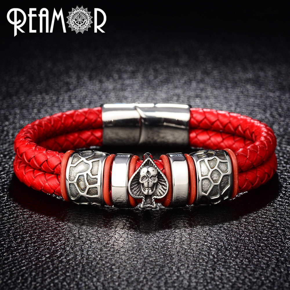 Skull Double Braided Leather Bracelets