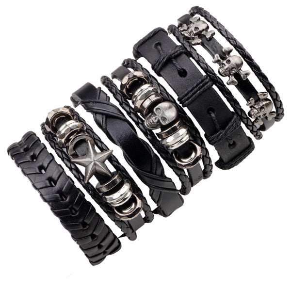 ER 6pcs Men Biker Genuine Black Leather Skull Bracelet