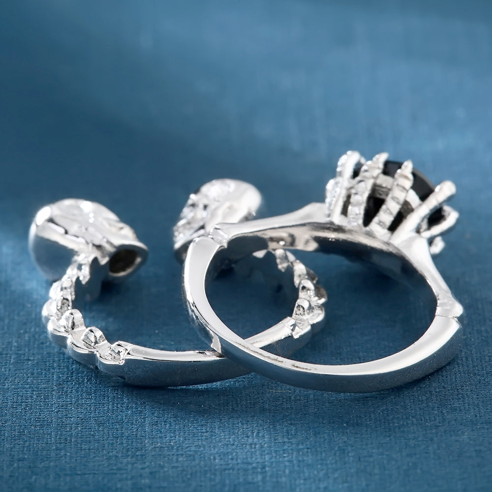 double Skull Ring sets Rhodium Plated