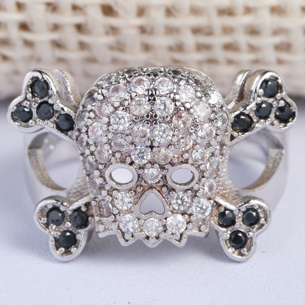 Skull ring hollow cz crystal jewelry gift