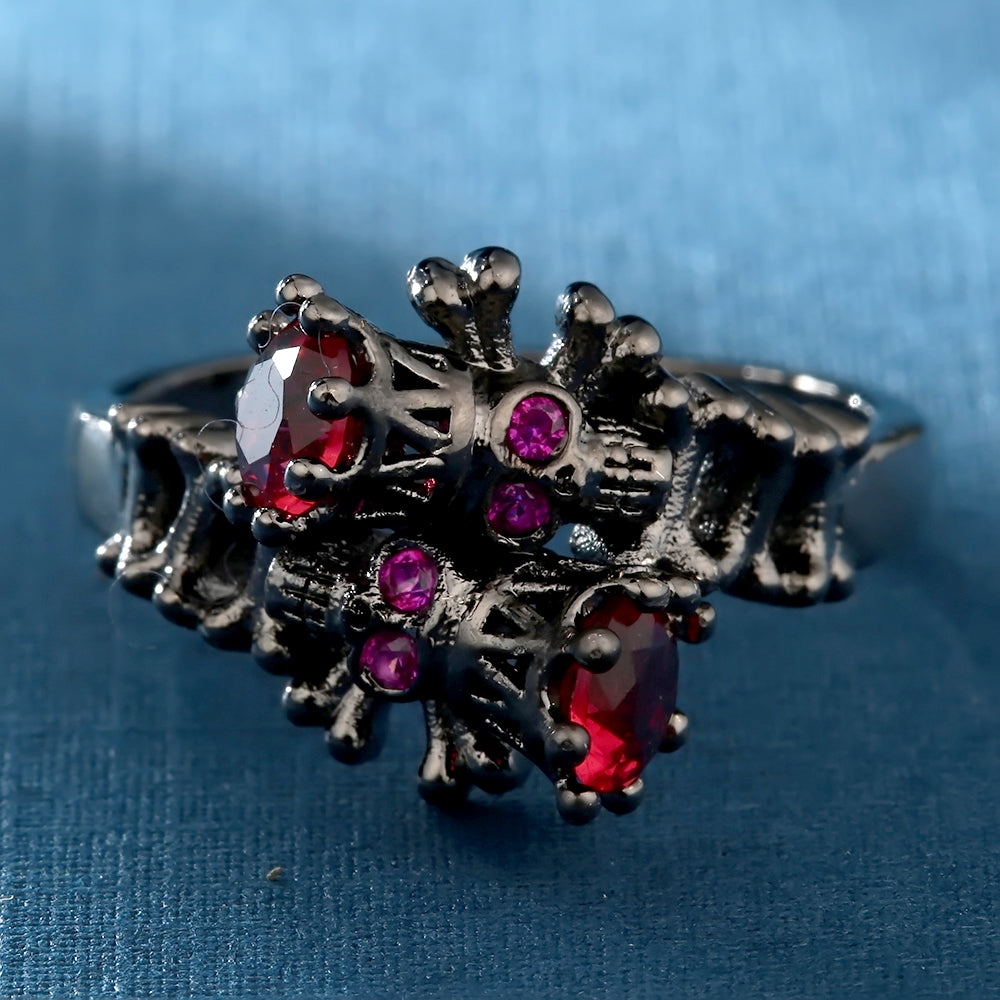 black gun color Ring red cz Crystal skull