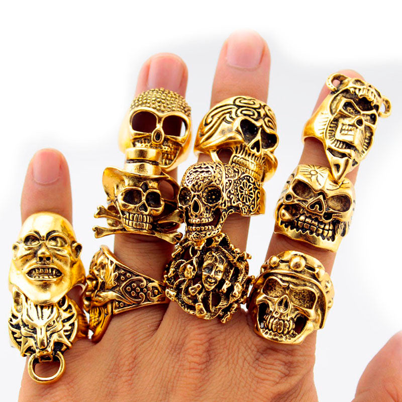 12 Piece/lot Wholesale Mix Big  Skull Ring in Jewelry Gold Plate