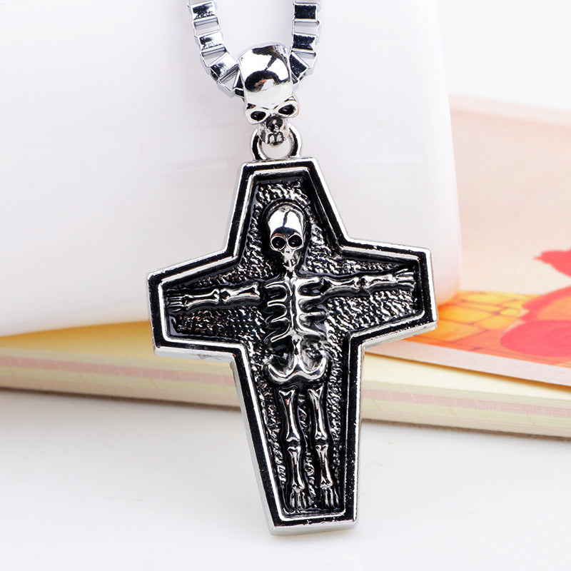 ER Mens Vintage Steampunk Necklace Rock Gothic Punk Cross Skull Pendant Metal Chain Neckless Male Spike Skeleton Jewelry AN002