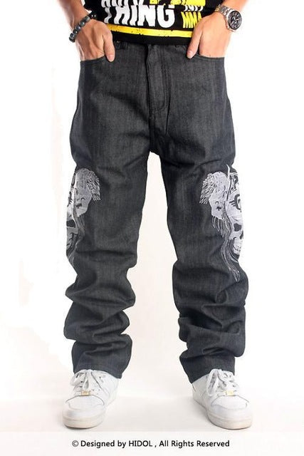 Men Jeans Skull Hiphop Pants Men Street Dance