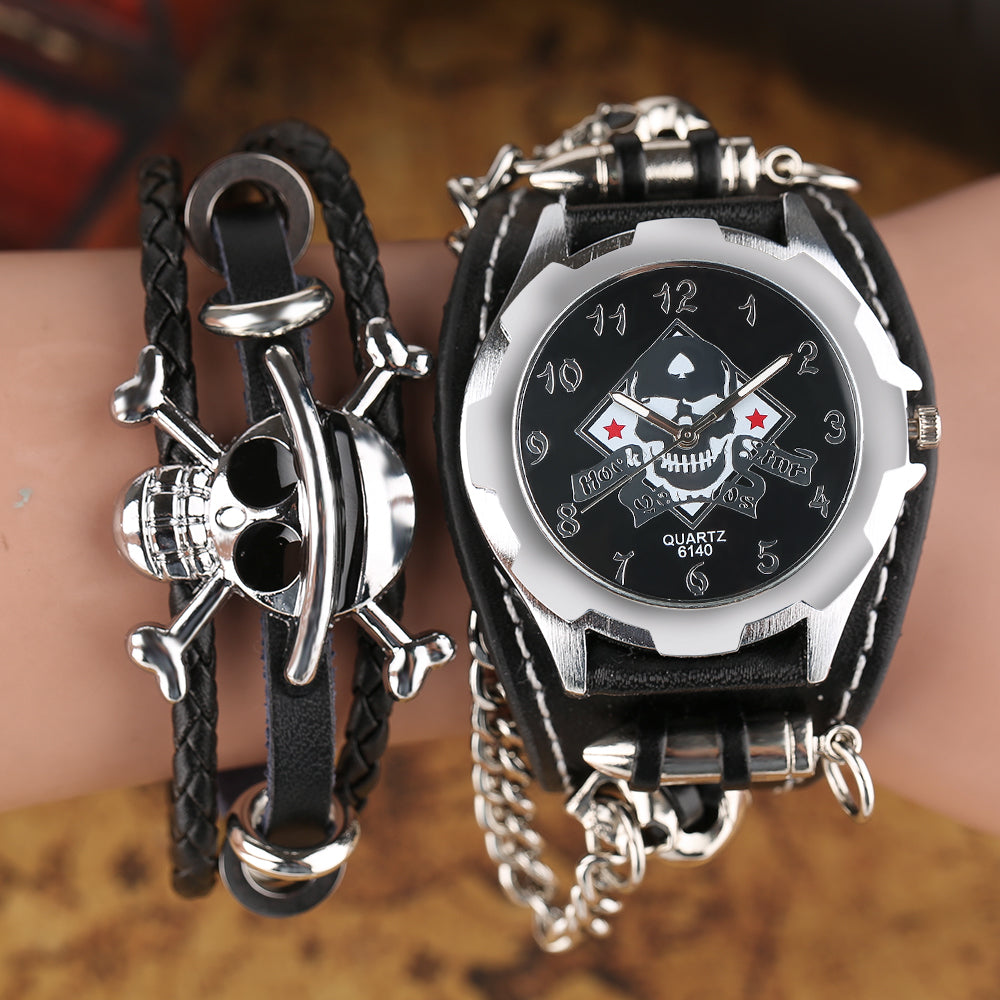 Men's Gothic Style Skull Wrist Watch Stylish Bullet