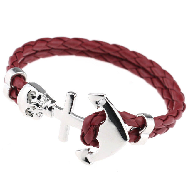 Fashion Genuine Leather Skull Bracelet