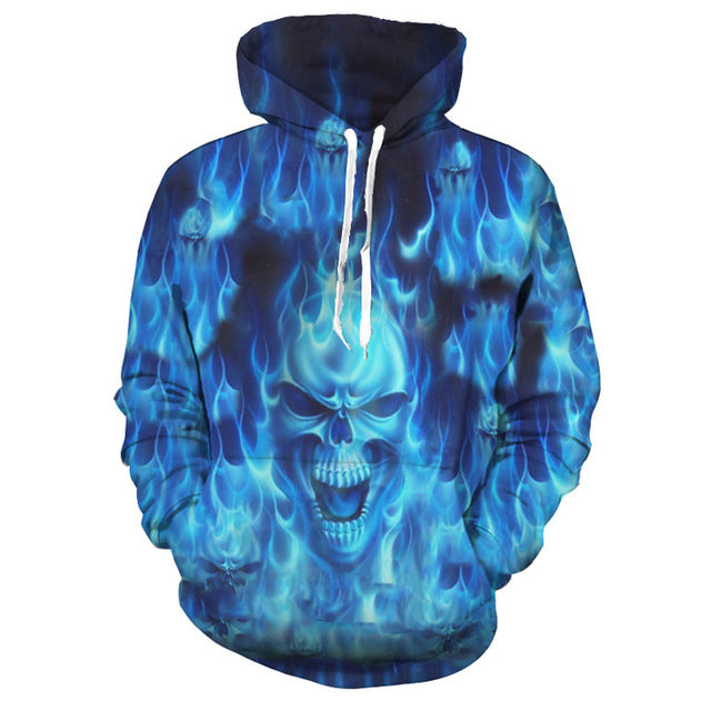Blue Flame Anger Skull Hooded
