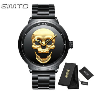 Vintage Gold Black Skull Watch Full Steel Waterproof Quartz Watches