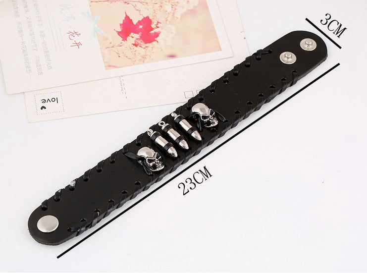 Black Wide Wristband Leather Bracelet Skeleton