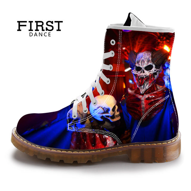 Mid-Calf Boots Men Black Skull Shoes