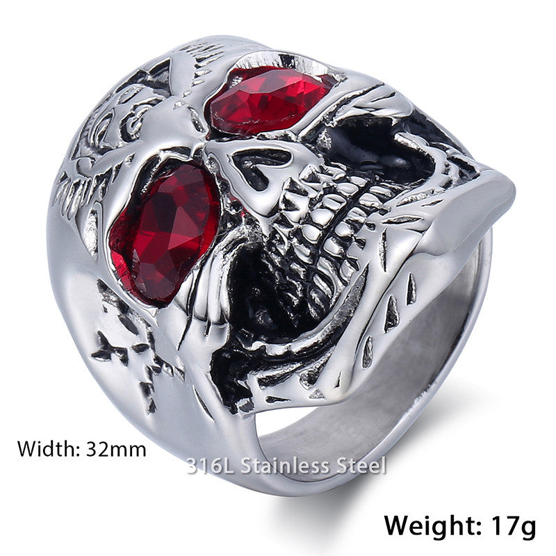 Men's Ring Skull Ring Red Rhinestones Eye