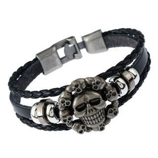 Leather Punk Bracelet Alloy Skull