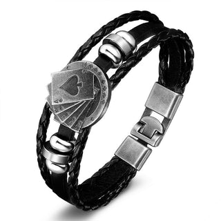 Leather Wrap Bracelet Poker Star Skull