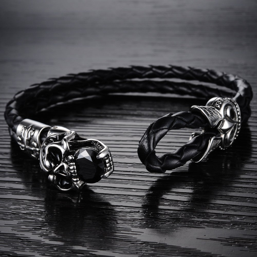 Skull Stainless Steel Black Japan Kito Genuine leather