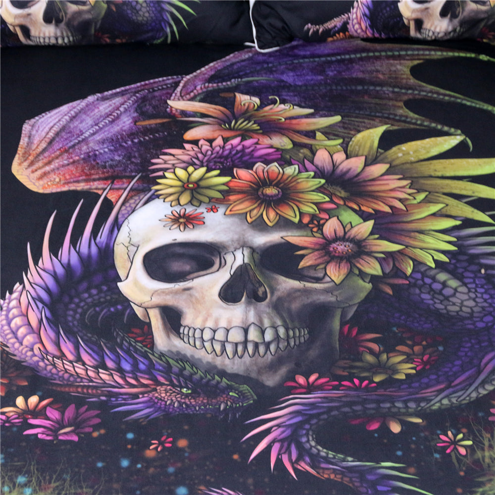 Dragon Flowery Skull by Sunima Bedding Set