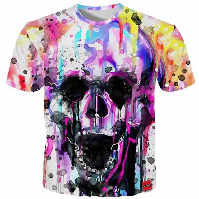 3D Tshirt Colorful Painting Skull