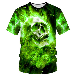 Casual Tshirts 3d Print Green Flame Skull