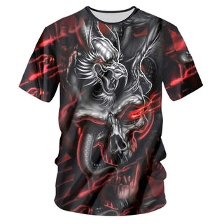 T-shirts Male Silver Dragon Skull