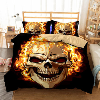 3D Skull Bedding Set Bed Sugar Fire skull