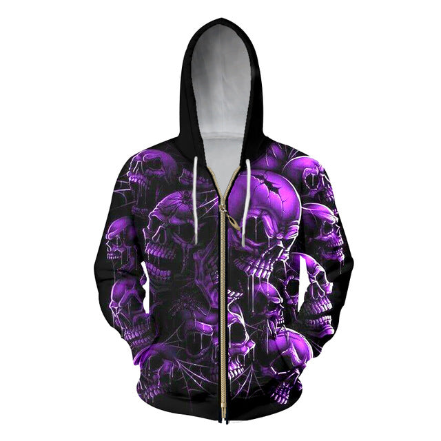Casual Hoodie Sweatshirts Print Purple Broken Skull