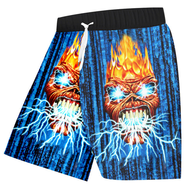 Shorts Fashion Galaxy Space Board Shorts Metal Skull Beachshorts
