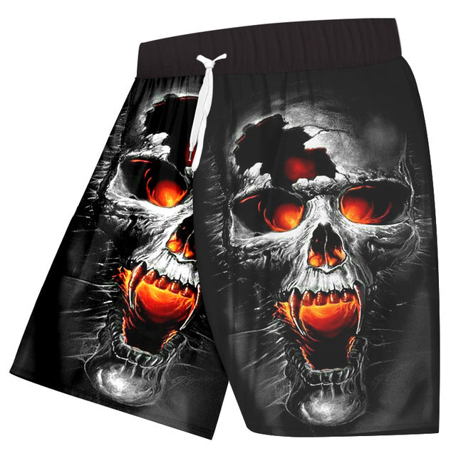 Casual Shorts Men Black Short Anime Skull Short