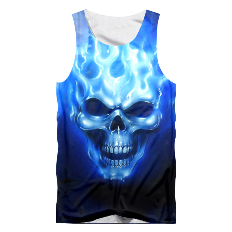 Casual Tank Top Blue Flame Skull