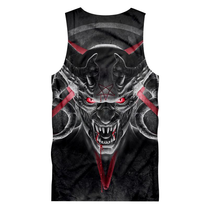 Men Casual Tank Top Print Red Eyes Horn Skull