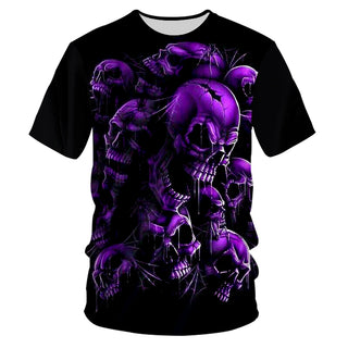 Casual Tshirts Cool Purple Skull 3D T-shirt