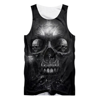 Casual Tank Top Cool Print Metal Skull
