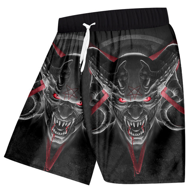 Casual Shorts Summer Cool Print Red Eyes Horn Skull
