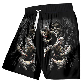 Men 3d Shorts Print Key Chain Skull Board Beachshorts