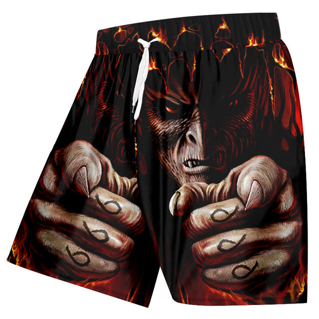 Casual Shorts Cool Print Flame Skull