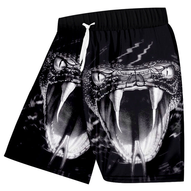 Men's Casual Shorts Cool Print Snake 3d Board Shorts