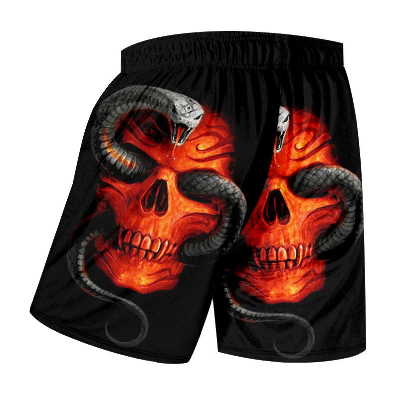 Casual Shorts Snake Skull 3d Beach Boardshorts
