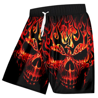 Shorts Summe Red Fire Skull 3D Boardshorts
