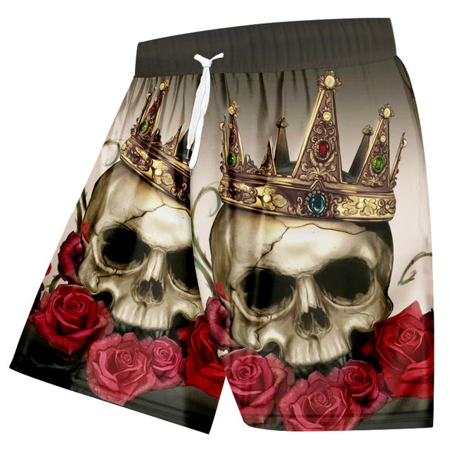 Summer Casual Shorts Rose Skull