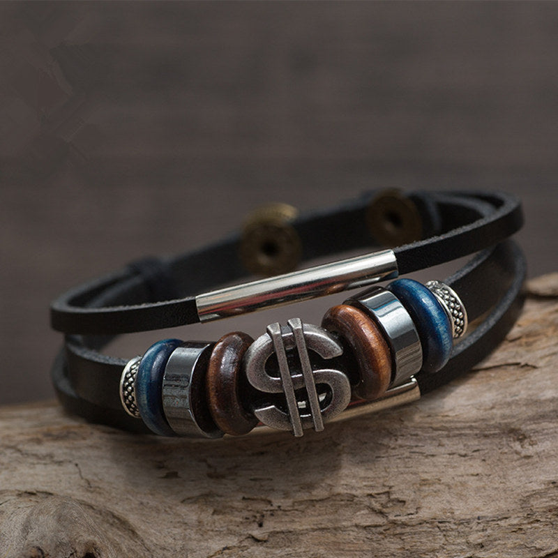 Bracelet Bohemia Braided Multi-layer Leather Rope