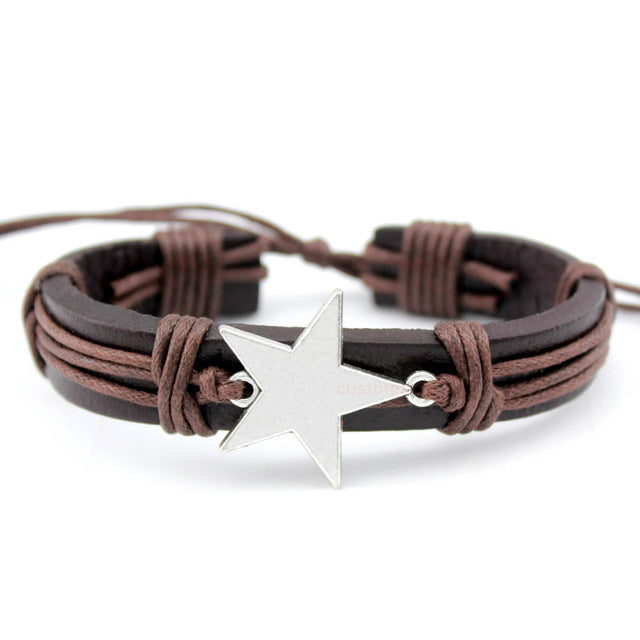 Bow Arrow Charm Leather Bracelets