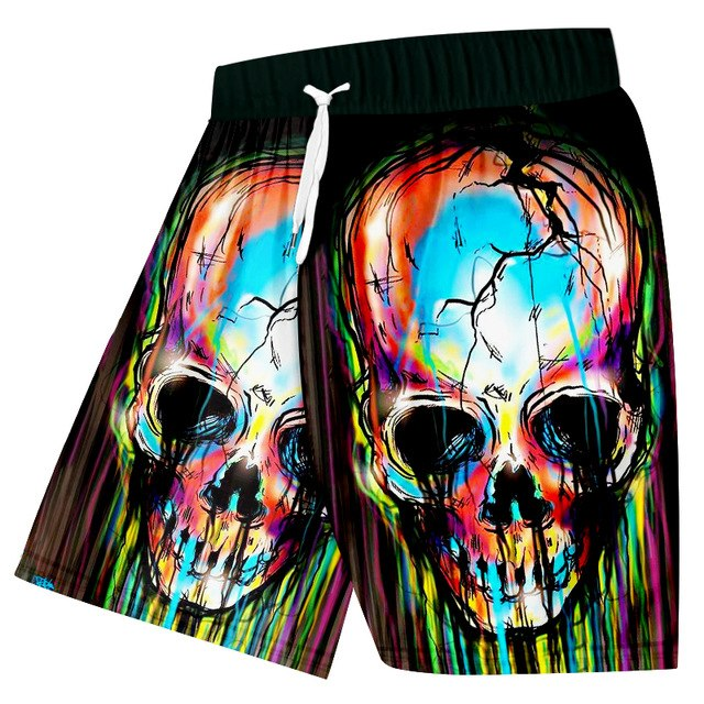 Colorful Skull 3D Beach Shorts