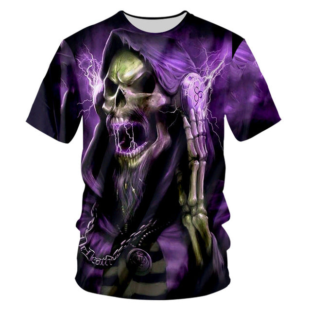 3D T Shirt Purple flash skull