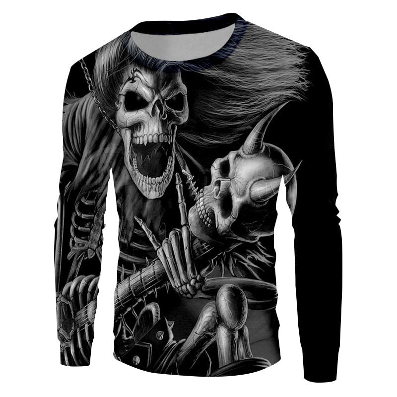 Sweatshirt 3D Long Hair And Angle Skull