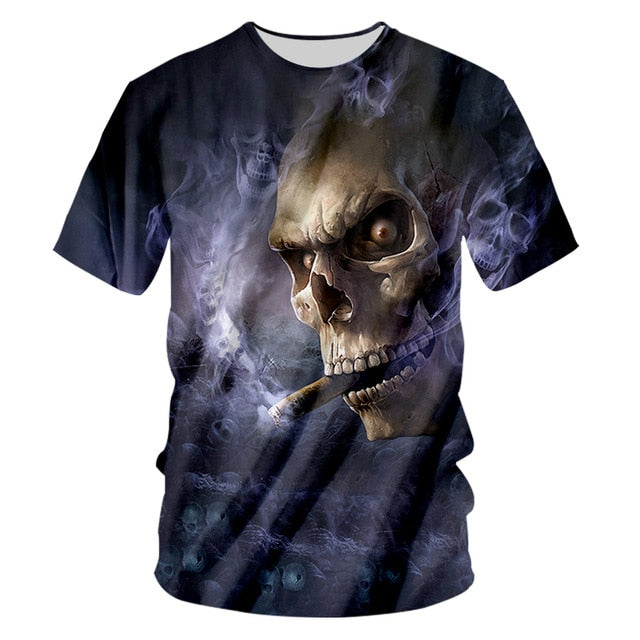3D Smoking Skull T Shirt