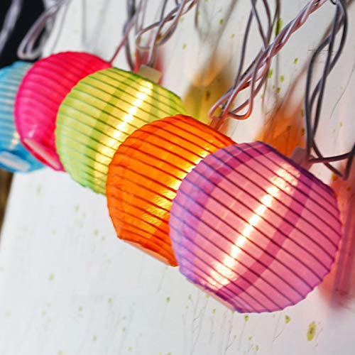 20 White Lanterns - Indoor Outdoor Mini Nylon LED String Lights Solar Powered Operated
