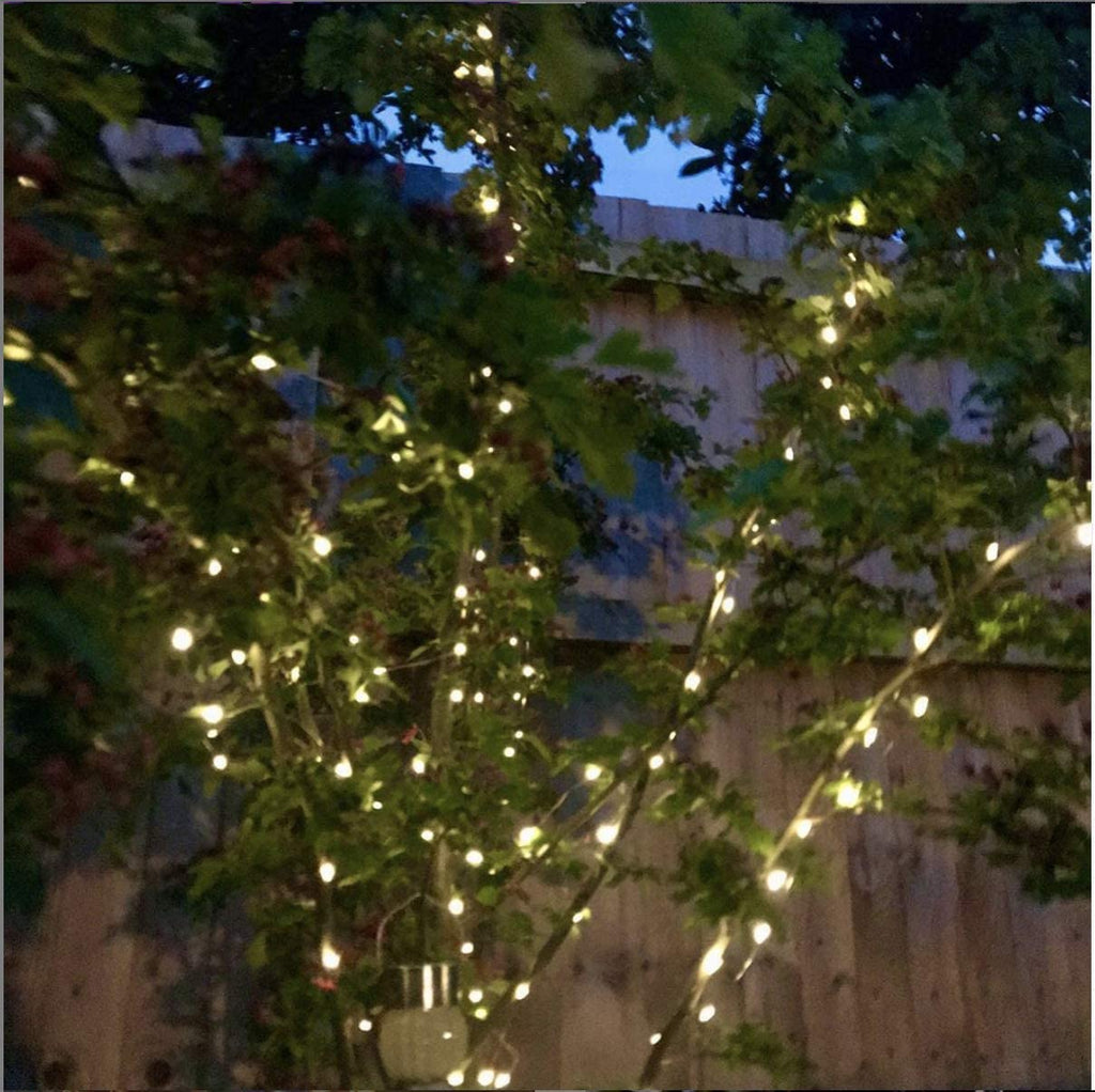 Green Wire Waterproof Solar String Lights for Garden Outdoor 15 Feet 50 Leds