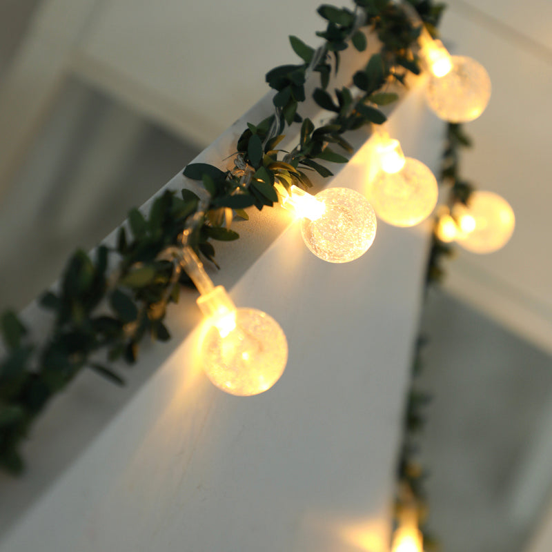 Battery String Lights Ball Ornaments with Artificial Flowers Wreath