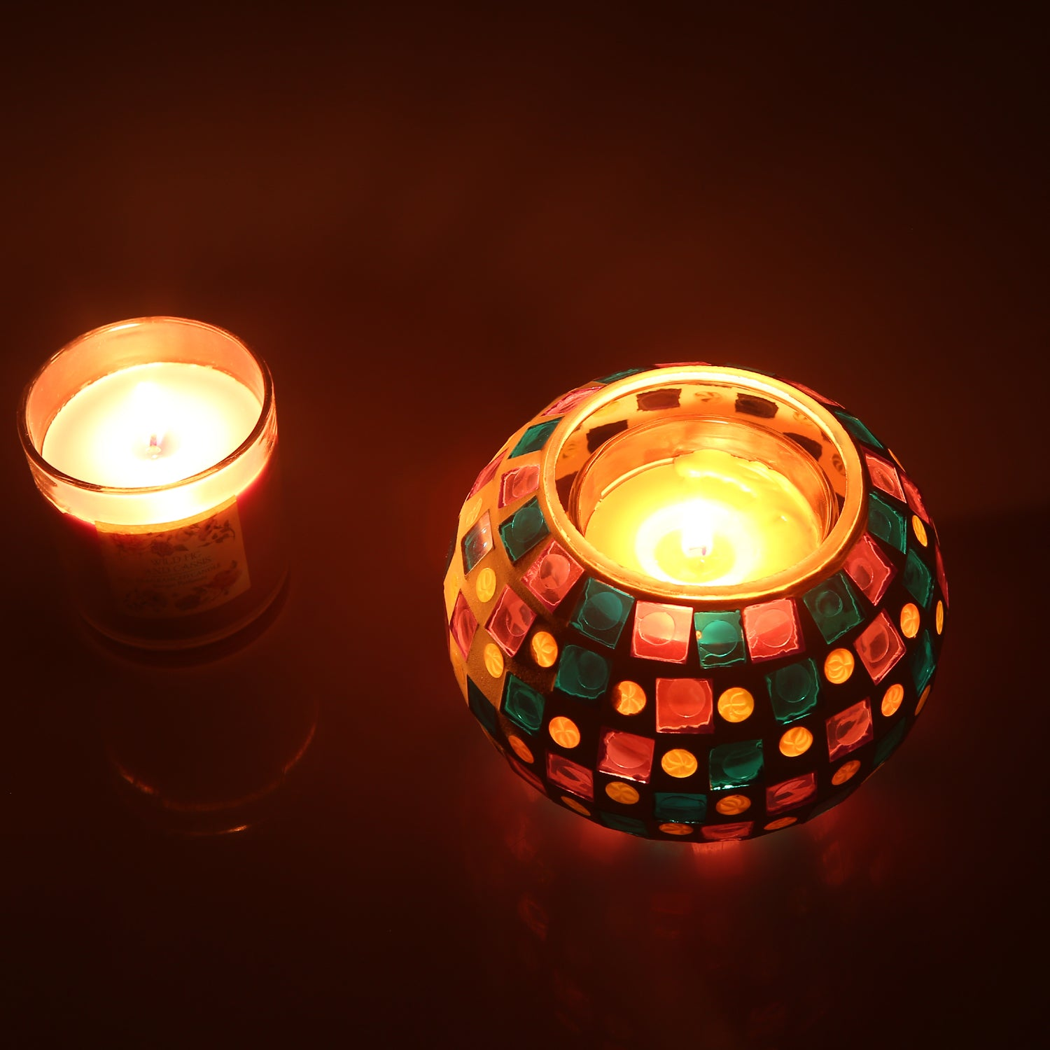 Magicnight Color Changing Mosaic Solar Table Light, Glass Bowl Small ...